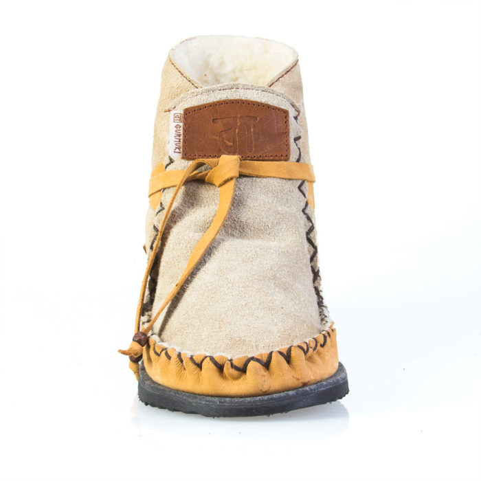 Gurmuki Sheep's Wool TRIBAL Handmade Ankle Boots are made of 100 % Leather Suede and Leather, 100% Sheep's wool lined throughout the boot including the foot bed with a 100% TR Rubber Sole. This Original design is Stylish and Functional able to be worn with the collar up or folded over to show the luxurious sheep's wool lining. In the Native American Indian Moccasin Boots Style, it is Unique, Stylish and Durable, not to mention Comfortable like wearing your slippers outside ! All Gurmuki Products are Handmade with Love, Proudly South African !